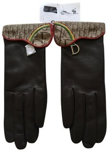 Dior Dior logo dark brown leather gloves