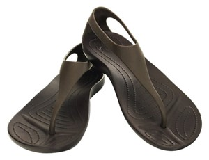 Crocs T Strap Design Sandal dark brown, but also kinda gray Sandals