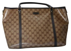 Gucci Crystal Joy Monogram Tote in Brown