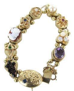 Other ART NOUVEAU VICTORIAN BRACELET VINTAGE 14K YELLOW GOLD AMETHYST CAMEO PEARL