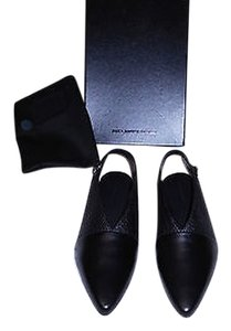Alexander Wang Simone Slingback Mixed Leather Made In Italy Black Flats