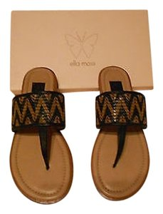 Ella Moss Giselle Woven Striped Design Made In Spain Black/Tan Sandals