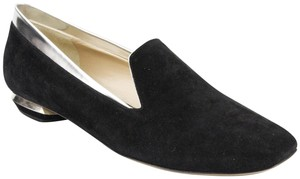 Nicholas Kirkwood Metallic Leather Suede Upper Stylish Made In Italy Black/Silver Flats