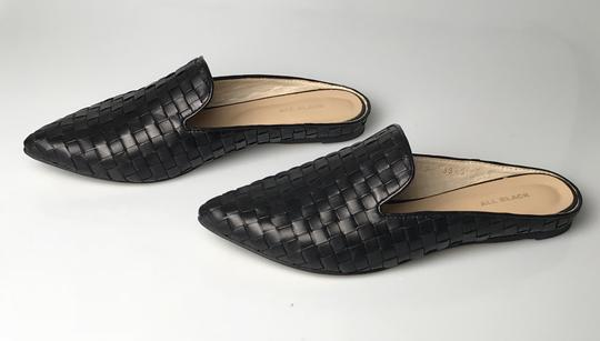 ALL BLACK Kid Leather Woven Design Runs Wide See Size Note Black Mules