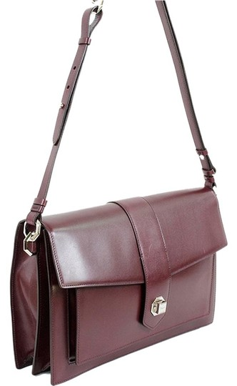 Salvatore Ferragamo Leather Front Flap Belted Silver Hardware Structured Laptop Bag