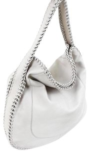 Salvatore Ferragamo Metallic Metallic Hardware Chain Braided Leather Hobo Bag