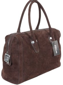 Studio Pollini Suede Gold Hardware Shoulder Satchel in Brown