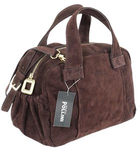 Studio Pollini Suede Structured Gold Hardware Satchel in Brown