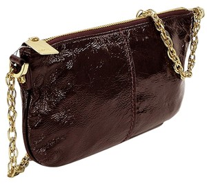 Studio Pollini Patent Leather Patent Chain Gold Hardware Wristlet in Burgundy
