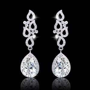 Gorgeous Bridal Tear Drop Cz Earrings