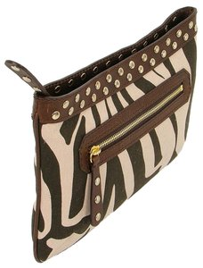 Studio Pollini Zebra Animal Print Print Spring Studded Leather Canvas Damier Canvas Pink, Brown Clutch