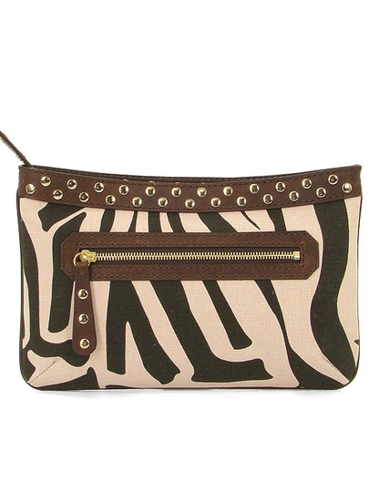 Studio Pollini Zebra Animal Print Print Spring Leather Canvas Damier Canvas Pink, Brown Clutch