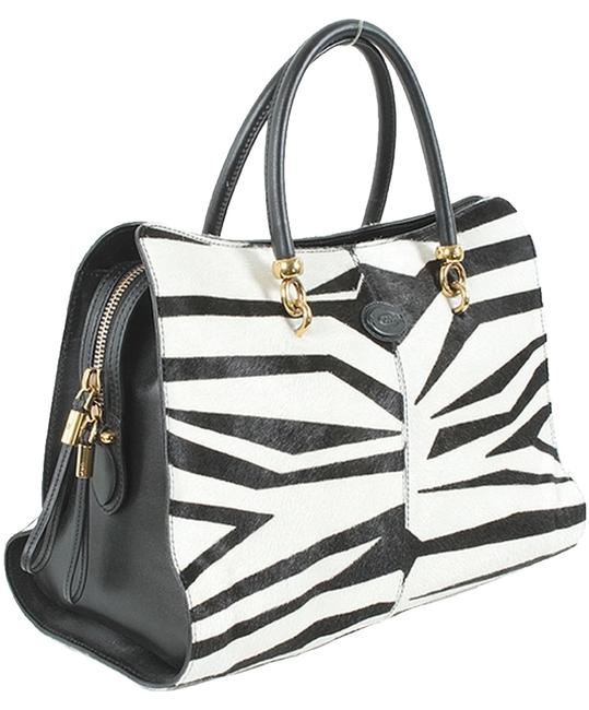 Tod's And Bauletto Sella Medium Calf Hair Tote Black White Calfskin Ponyhair Leather Satchel Tod's And Bauletto Sella Medium Calf Hair Tote Black White Calfskin Ponyhair Leather Satchel Image 1