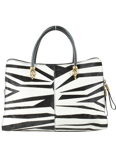 Tod's Zebra Oversized Calfskin Gold Hardware Leather Structured Satchel in Black, White