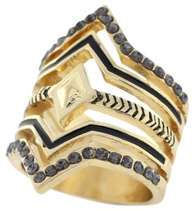 BCBGeneration Gold Chevron Stack Ring