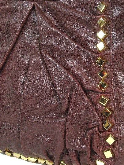 Treesje Leather Patent Leather Studded Gold Hardware Hobo Bag