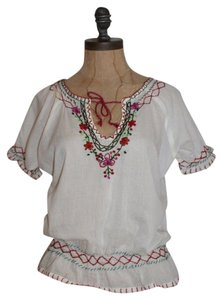 Anthropologie Embroidered Mexican Boho Top IVORY