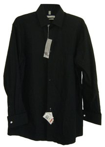 Geoffrey Beene Button Down Shirt BLACK TONE ON TONE STRIPE