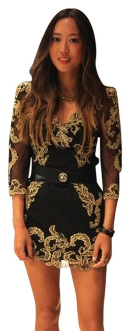 Item - Black and Gold Collection Above Knee Cocktail Dress Size 4 (S)