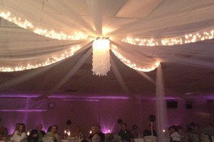 Ivory Sheer Ceiling with Lights 100'x50' Canopy/Chuppah