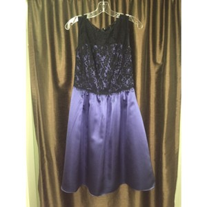 After Six Black Lace/amethyst Satin Dress