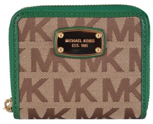 Michael Kors New Michael Kors Green and Beige Signature Jacquard Jet Set Zip Around Wallet