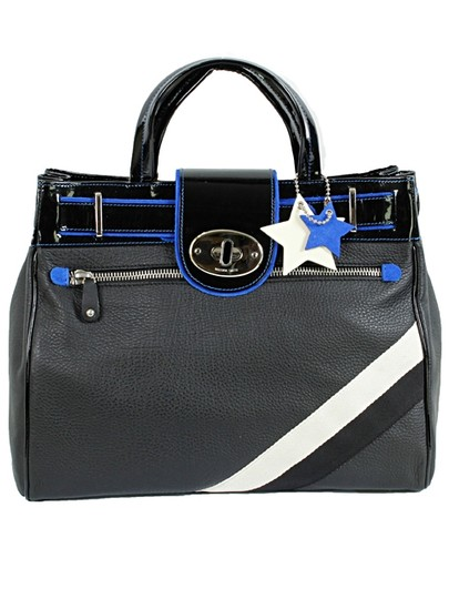 Valeria Smith Leather Structured Striped Silver Hardware Applique Belted Suede Oversized Satchel in Black