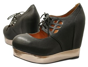Jeffrey Campbell 7 Acne Raid Mary Jane Black Wedges