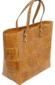 Victor Hugo Crocodile Alligator Python Quilted Gold Hardware Studded Tote in Caramel