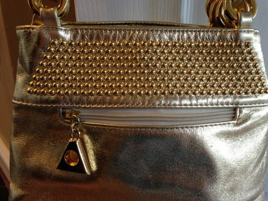 Dawli Metallic Leather Studded Shoulder Bag