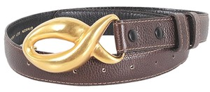 Robert Lee Morris Robert Lee Morris For Donna Karan Belt - Brown Leather Vintage Figure 8 Buckle Waist Belt