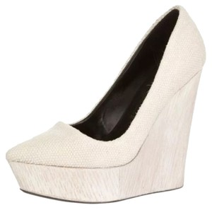 Theory Canvas Wooden Wedge Platform White Wedges