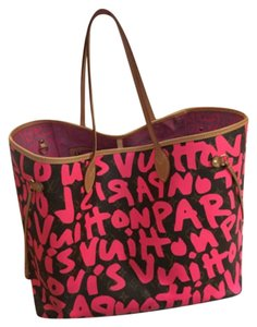 Louis vuitton Neverfull GM limited edition graffiti pink Stephen Sprouse Tote in Pink