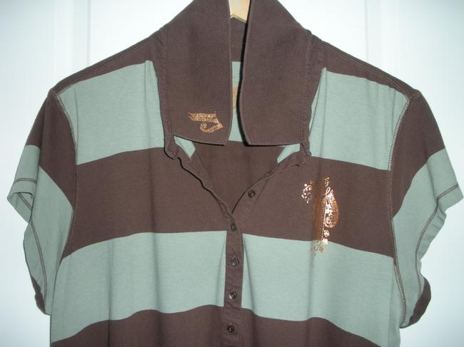 Mixit T Shirt Mint Green & Brown Polo w/ Gold 3x