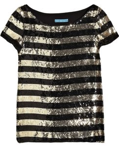 Alice + Olivia Sequin Striped Short Sleeves Top Black, Gold