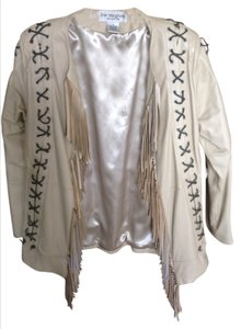 Western style Western Look Fringe Leather Stitch Light tan Leather Jacket