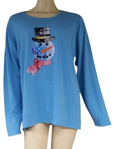 Quacker Factory Knit Applique Holiday Snowman Cotton Blend Sweater