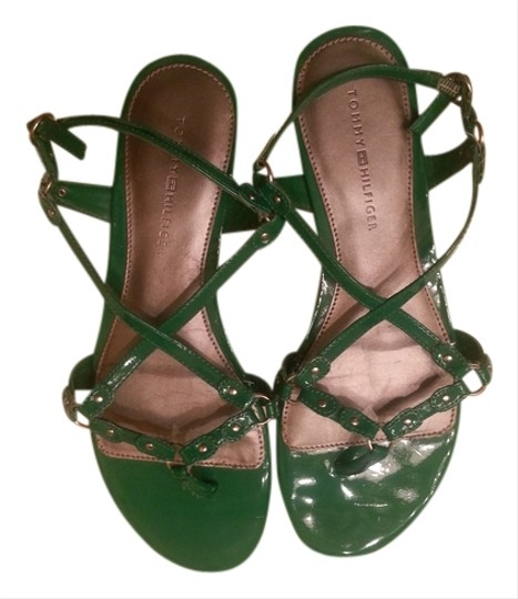 Tommy Hilfiger Patent Leather Green Sandals