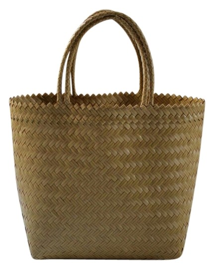 Other Tote Plastic Market Handwoven Mustard Yellow and Pink Beach Bag