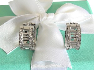Tiffany & Co. NEW Authentic Tiffany & Co. 18K White Gold Atlas Open Hoop Diamond Earrings - Stunning