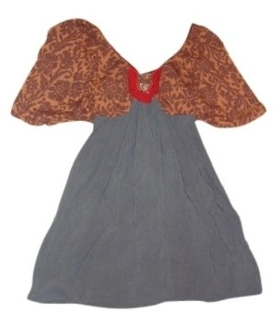 Item - Earth Tones Urban Outfitters Sun Puff Sleeves Empire Waist M Above Knee Short Casual Dress Size 8 (M)