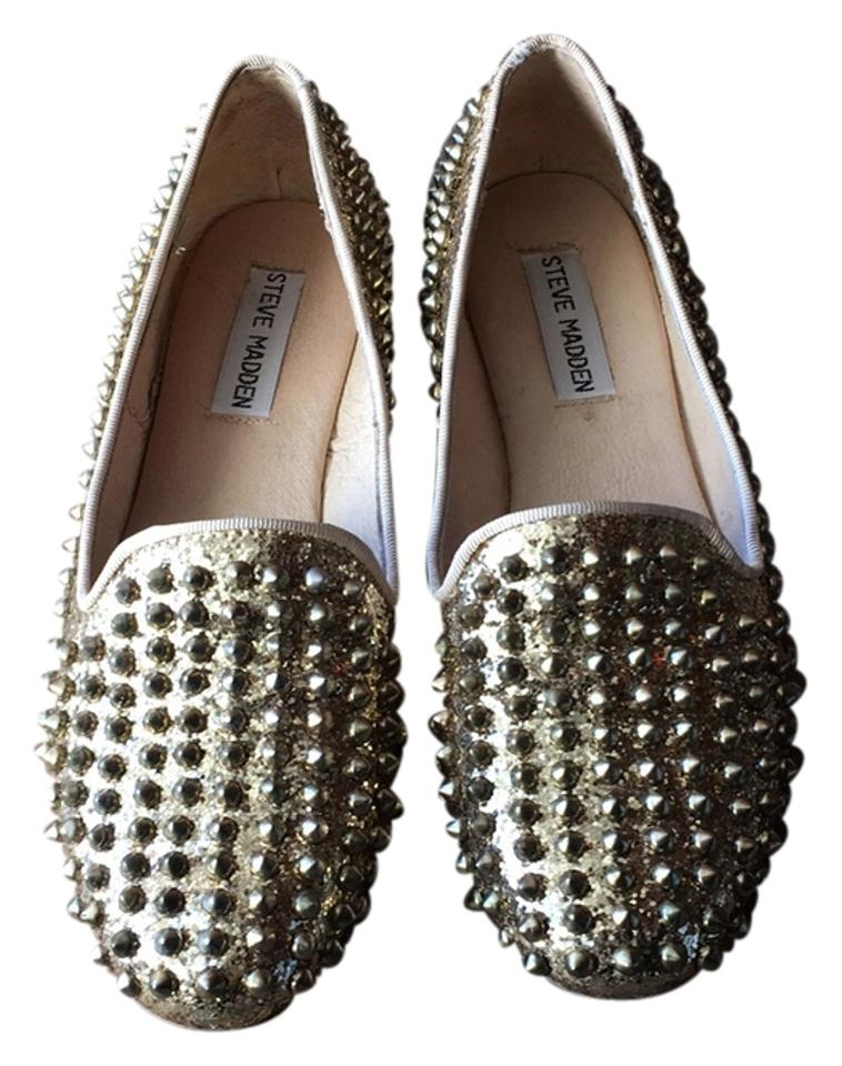 6cbf908890f Steve Madden Gold Studlyy Studded Loafer Flats Size US 7 Regular (M ...
