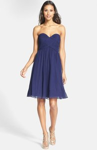Donna Morgan Blue (Midnight) Silk. Strapless Chiffon Formal Bridesmaid/Mob Dress Size 2 (XS)