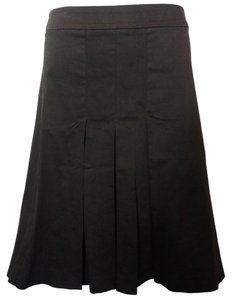 Zara Pleated Formal Work Office Skirt Brown