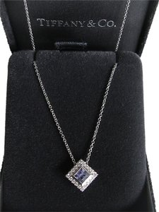 Tiffany & Co. NEW Authentic Tiffany & Co. Grace Platinum 950 Tanzanite Diamond Pendant Necklace 16