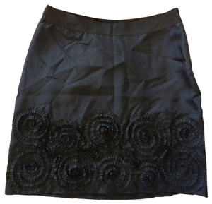 Banana Republic Silk Rosettes Flowers A-line Skirt Black