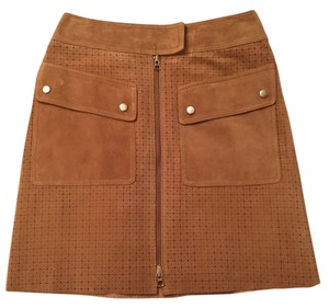Margaret Godfrey Laser Cut Leather Mini Skirt Tan