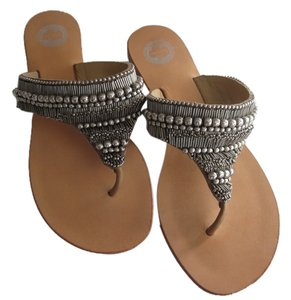 Anthropologie Sandal Beaded Leather silver Sandals