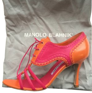 Manolo Blahnik Pink / Orange Sandals