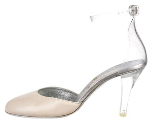 Chanel Lucite Ankle Strap Nude Pumps